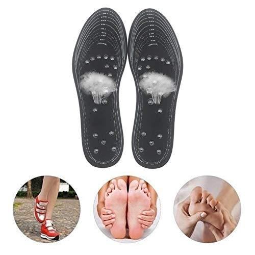 Magnetische Einlegesohlen,Akupressur Einlegesohlen,1 Para Magnetfeldtherapie Akupressur Massage Schuheinlagen Pads Memory Foam Fußpflege Kissen für Männer Frauen (Schwarz)
