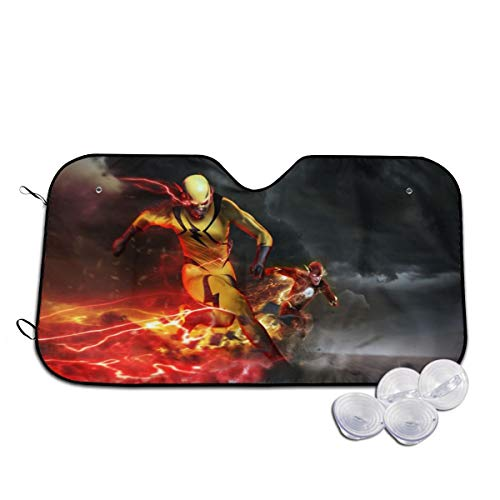 Heavenly Battle Justice League The Flash Windshield Sun Shades Blocks UV Rays Sun Foldable Visor, Car Universal Car Sunshades Shield Cover Protector with 4 Suction Cups 30x55 Inch