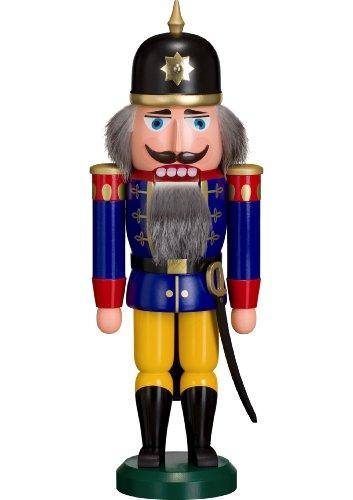 Nussknacker Figur Soldat blau-gelb von DREGENO SEIFFEN 37 cm – Original erzgebirgische Handarbeit, stimmungsvolle Weihnachts-Dekoration