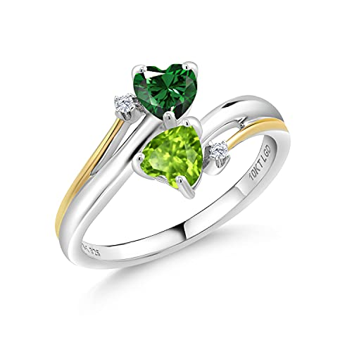 Gem Stone King 1.02 Ct Green Nano Emerald Green Peridot 925 Silver and 10K Yellow Gold Lab Grown Diamond Heart-To-Heart Ring (Size 7)