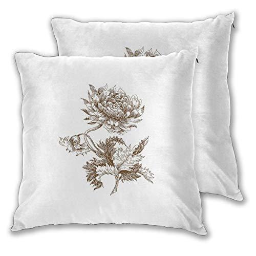 FULIYA Fundas de almohada decorativas de 2 piezas de estilo antiguo con dibujo a mano alzada de una sola colosal flor de Dalia pétalos y hojas, fundas de almohada de 40,6 x 40,6 cm con cremallera.