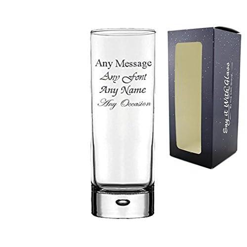 Personalised Engraved Bubble Hi Ball Tall Glass Gin Tonic Birthday Wedding Gift Usher