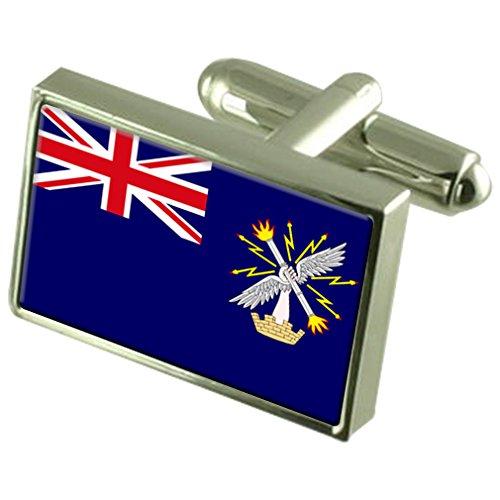 Select Gifts Royal Engineers militärischen England Flag Sterling Silber Manschettenknöpfe graviert Box