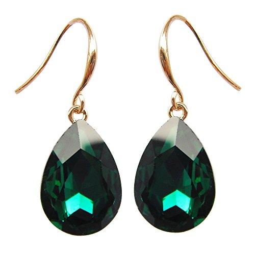 Navachi 18k Yellow Gold Plated Emerald Green Zircon Crystal Az1001e Dangle Drop Earrings