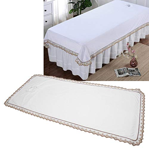 Massage Table Pad Professional Massage Table Cover Sheet Protection Cover for Massage Tables Spa Massage Bed Coverlet with Hole for Beauty Shop Coral Velvet(White)