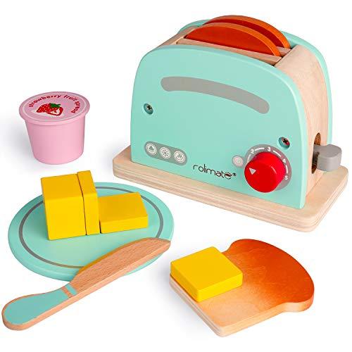 Rolimate Toaster Holzspielzeug Küchenspielzeug für Kinder, Kochen Koch Rollenspiele Pädagogisches Lernen Spielzeug, Montessori Spielzeug Brotspielzeug Geburtstagsgeschenk ab 3 4 5+ Jahre (12Pcs)