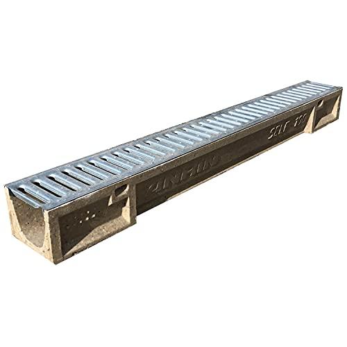 Canaletta di scolo acqua carrabile in calcestruzzo polimerico con griglia zincata 100x12 SELF100 griglia scolo acqua piovana Ideale per interrati garage e cortili