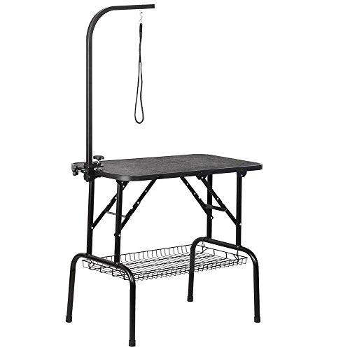 Yaheetech Alu Trimmtisch Tierpflegetisch Schertisch mit Korb höhenverstellbar Schwarz