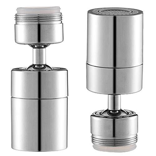 faddy-1 2 Stücke Wasserhahn-Luftsprudler, M24 Kann um 360-Grad-drehbarer Schwenkkopf,Wassersparender Siebstrahlregler, Zwei unterschiedliche Wasserdruchflüsse, 24mm Außengewinde