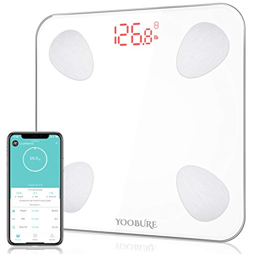 Bluetooth Body Fat Scale, Yoobure Smart Scale Bathroom Digital Weight Scale with iOS Android APP, Highly Accurate Body Weight BMI Scale, Auto Recognition Body Composition Analyzer