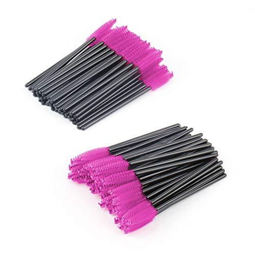 Nouveau 100pcs / lot brosse de maquillage Rose fibre synthétique One-Off Jetable Cils Brosse Mascara Applicator Wand Brush