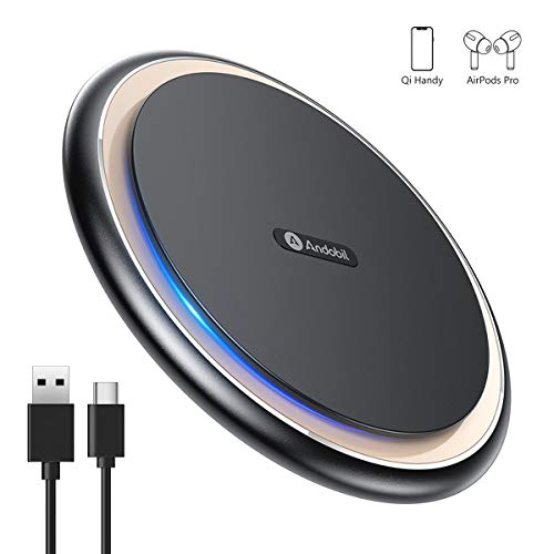 andobil Wireless Charger Ladepad, 15W Qi Wireless Ladestation professionelles kabelloses Ladegerät für Neu Apple SE 2020/11/11pro/XR/Samaung Galaxy S20/S20+/S10/S10e/Note 10+/S8/OnePlus 8 Pro usw.