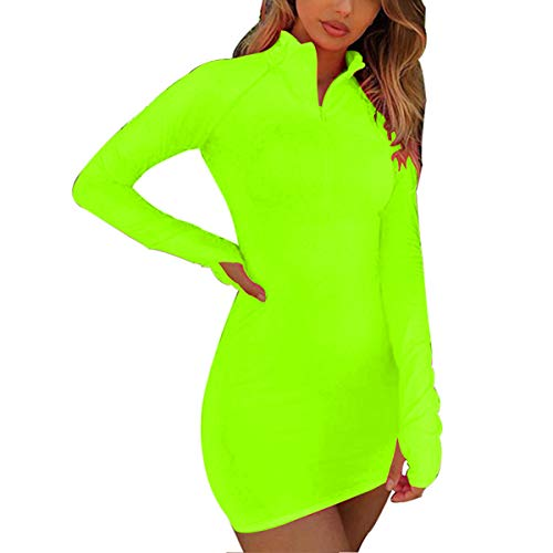 LuFeng Women's Long Sleeve High Neck Zipper Bodycon Slim Fit Dress (L, A-Neon Lime)