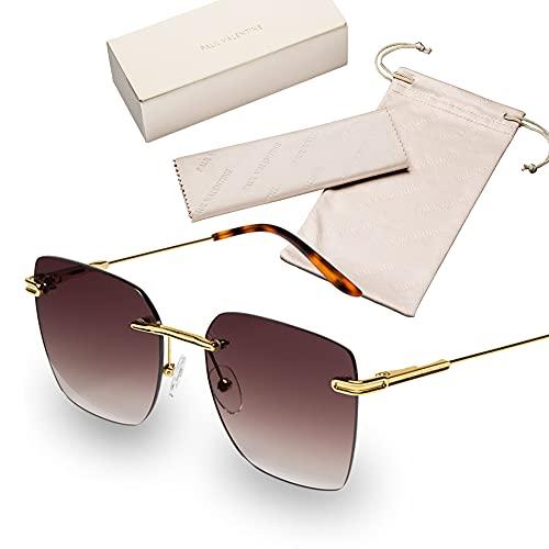 PAUL VALENTINE Sonnenbrille -Felicia Brown- Made in Italy Sonnebrille Damen mit 100% UV-Sonnenschutz (UV400), Rahmenlos mit Gold-Metall-Gestell