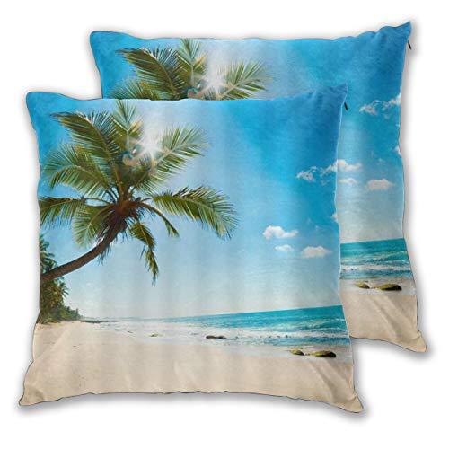 LOSUMIGE 2 Pack Funda de Almohada Tropical Beach Summer Palm Tree Coast Sands Ocean Waves Under Sunny Sky Seaside Nature Scenery Lino Suave Cuadrado Sofá Cama 60cm x 60cm
