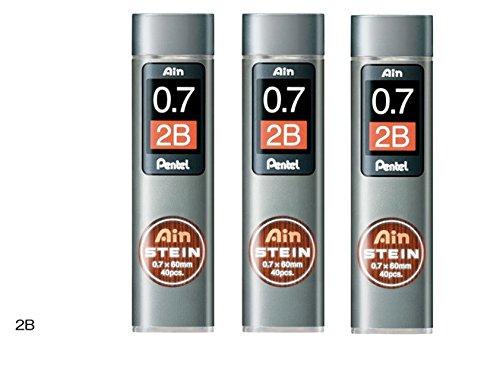 [3piezas.] Pentel portaminas Core de repuesto Ain Stein 0,7mm 2B 40leads × 3C277–2B de Japón