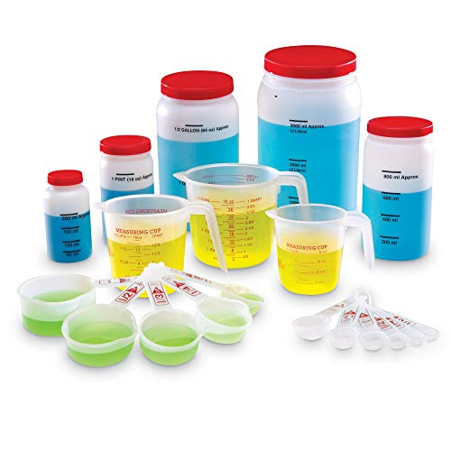 Learning Resources Classroom Liquid Measuring Set, Science Classroom Accessories, Teacher Aids, 19 Piece Set, Grades K+, Ages 5+ (LER0360),Multi-color
