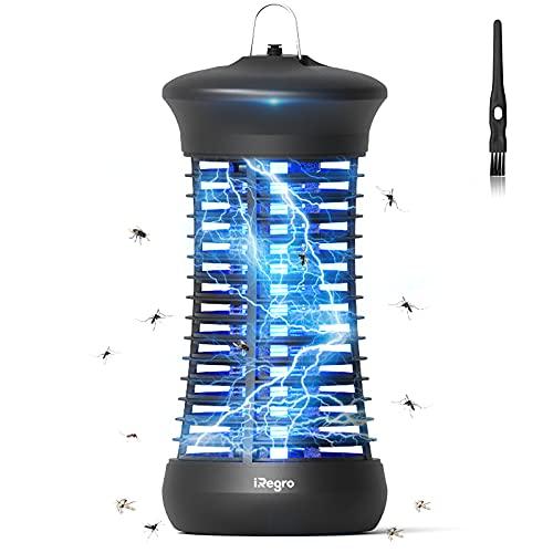 IREGRO Lámpara Antimosquitos Eléctrico, 6W UV Lámpara Antimosquitos Portátil Interior, Repelente de Mosquitos Trampa Eléctrico, para Dormitorio, Sala de Estar, Cocina, Oficina