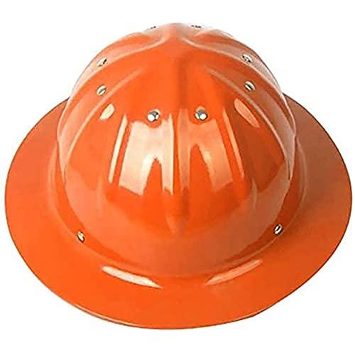 DDCHH Casco Protección de Aluminio, Casco de Seguridad Industrial, Casco de Trabajador de Construcción con Casco Ajustable, Casco de Calidad, 30x28x14cm,Orange