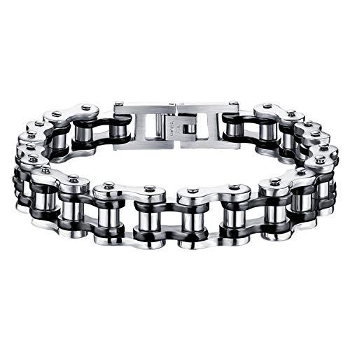 JewelryWe Schmuck Herren Armband, Schwer Biker Link Fahrradkette, Edelstahl, Schwarz Silber