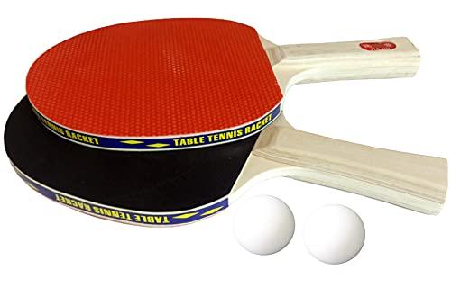 O&W Security Juego de 2 raquetas de ping pong y 2 pelotas de ping pong, edición profesional, color negro y rojo