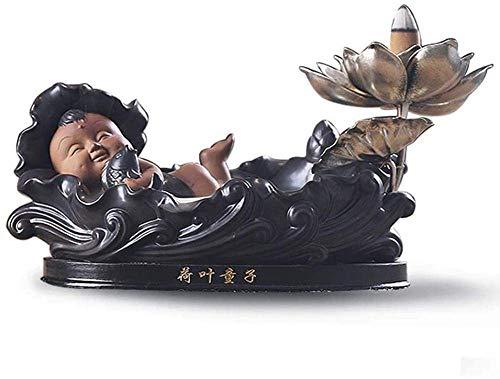 Estatuas, cerámica retroalco incienso incienso zen loto hoja niño aromaterapia estufa creativo hogar decoración casero sala de estar té ceremonia decoración decoración creativa artesanía a mano hecha