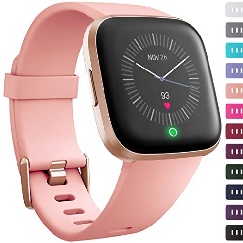 Ouwegaga for Fitbit Versa Bands, for Fitbit Versa Fitness Sport Wristbands Straps for Women Men Large Peach