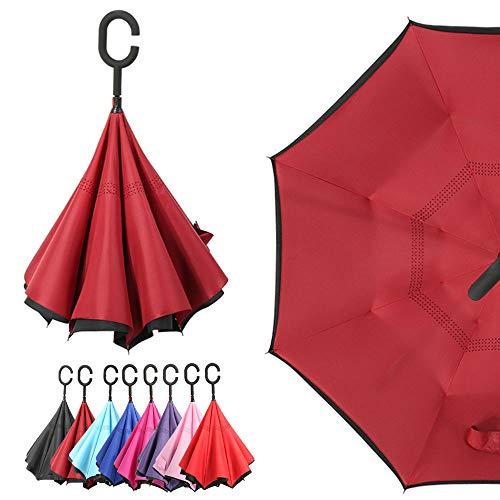Winddichter, wasserdichter UV-Schutz, doppelschichtig, umgekehrter Regenschirm, selbststehender Regenschirm mit C-förmigem Griff, weinrot
