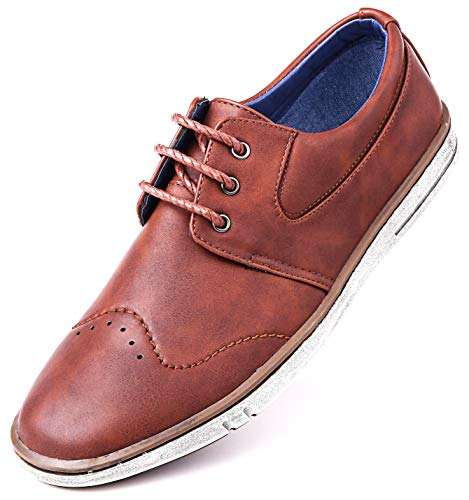 Mio Marino Men Casual Oxford Shoes - Comfortable Business Fashion Mens Casual Dress Shoes - Urban Rugged Collection - Tan Cognac - 10 D(M) US