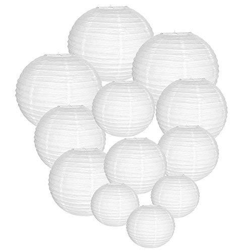 Trofou 12x Lanternes en Papier|Lampion Papier Blanc|Lampion Papier Suspensions Ronde pour Décoration de Mariage, Noël,Maison,Anniversaire,Fête etc(Blanc 12pcs)