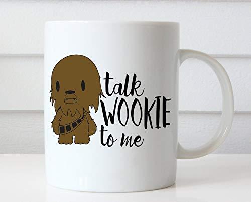 N\A aza Talk Wookie To Me Taza de café Divertida Tazas Divertidas Regalo de los Amantes del café de Chewbacca Tazas de café únicas Taza de Star Wars Taza de café Linda