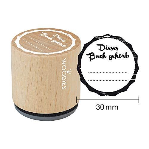 Woodies Stempel Dieses Buch gehört, Holz, 3,4x 3,4x 3,5cm
