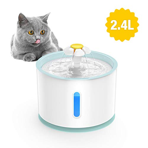 isYoung LED Pet Fountain, LED 81oz/2.4L Automatic Cat Fountain Dog Water Dispenser for Cats, Dogs