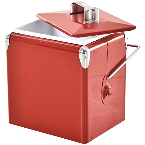 Outsunny - Glacière vintage rouge en acier INOX, 13L