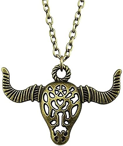 WYDSFWL Collar Collar de joyería para Mujer Color Bronce Antiguo 50x34mm Collar Colgante de rocío ngau Regalo Femenino Regalo Vintage