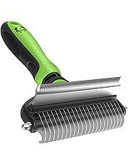 Cepillo para perros y gatos – 2 en 1 cepillo para mascotas para perros y gatos, cepillo para debajo del pelaje para eliminar el pelo muerto, enredos, enredos para pelo corto y largo