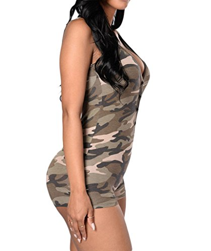 Shawhuwa Womens Sexy V Neck Sleeveless Camouflage Romper Bodysuit S Camo