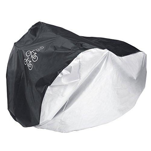 Surepromise Fahrradschutzhuelle Fahrradgarage Fahrradueberzeug Regenschutz Fuer 2 Fahrraeder schwarzsilber