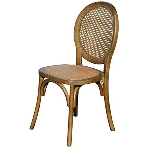 EME - Sedia a medaglione in legno scuro di Olmo con seduta in rattan naturale e schienale a griglia, 1 pezzo, impilabile, finitura rustica.