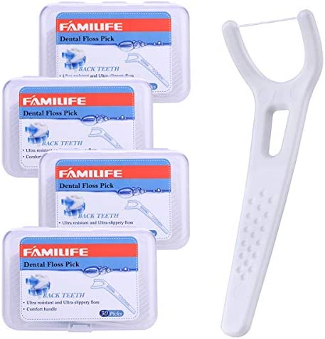 FAMILIFE Floss Picks Mint Dental Floss Picks with 4 Travel Handy Cases 240 Count Flossers