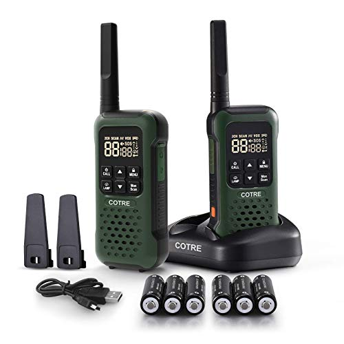 Walkie Talkies - COTRE Two Way Radios for Outdoors, Up to 32 Miles Talk Range USB Rechargeable Walkie Talkies w/ 2662 Channels, IP67 Submersible Waterproof, SOS & VOX, Army Green(2 Pack)