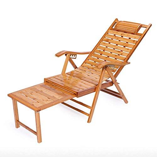 BANNAB Sillón reclinable de bambú Ajustable en 5 Posiciones Silla reclinable de Gran tamaño para el Ocio Tumbona de jardín Plegable al Aire Libre con reposapiés Silla Relajante para balcón