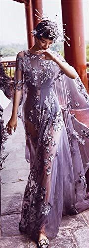WANGMEILING Vestido de Novia Manga Larga Escote Redondo Cremallera hasta la Espalda Transparente Tul Lentejuela Rebordear Ilusión Púrpura Brillo Vestido de Noche (Color : As Image, US Size : 8)