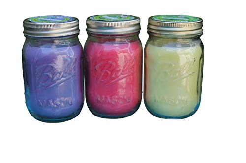 Natural Lemongrass, Lavender, Rosemary Sage Mosquito Repellent Candle (Set of 3) Indoor Outdoor -88 Hour Burn- Naturally Repels Insects with Essential Oils, Citronella Soy, Ball Mason Jar, Made in USA