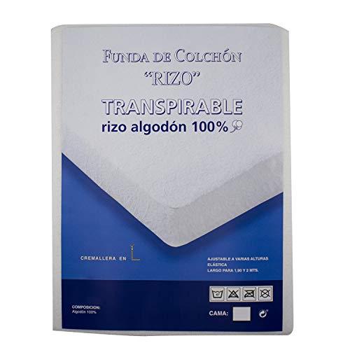 Protector de colchón Rizo Transpirable 100% Algodón y antiácaros con Cremallera Funda de Colchón - Talla 150 X 190/200 CM