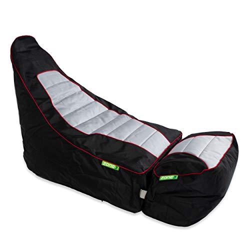 Green Bean © Zone3 2er Set - Gaming Sitzsack mit Add-On Hocker - 120x55x75 cm - 150L Füllung - wasserabweisend, schmutzabweisend, waschbar - Gamingstuhl - Sitzkissen für Kinder & Erwachsene - Race