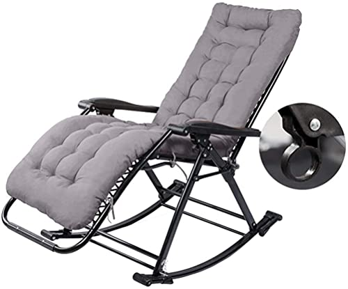 Sillones plegables reclinables al aire libre, silla mecedora con cojines plegable jardín reclinable terraza tumbonas en la playa máx. 250kg