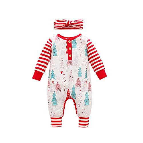 Sinhoon Baby Girls Boys My 1st Christmas Romper Stripe Christmas Tree Romper Jumpsuit Sleepwear Pajamas Clothes(White, 0-3 Months