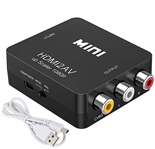 Yiany - Convertidor HDMI a RCA, HDMI a AV 1080P HDMI a 3RCA Adaptador de audio de vídeo compuesto CVBS para TV HD, PC, portátil, Xbox, VHS, VCR, reproductores de DVD