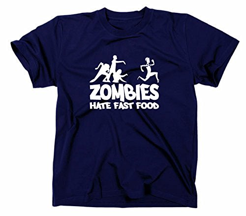 Zombies Hate Fast Food Fun T-Shirt Zombie Horror, Navy, M